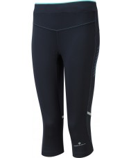 Ronhill RH-002012RH-00196-8 Damer aspiration svart pepparmynta stretch capri tights - storlek uk 8 (xs)