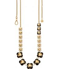 Orla Kiely N4020 Damer seriekoppling 18ct guld monokrom lång blomma halsband